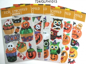 China 6 HALLOWEEN DESIGNS FOIL EMBOSSED STICKER on sale