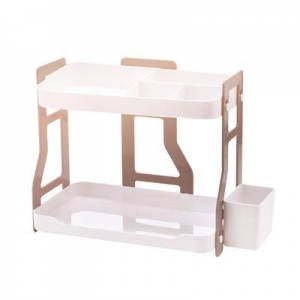 China HornTide Creative 2-Tier Storage Rack ABS Plastic Counter-Top Organizer Beige on sale