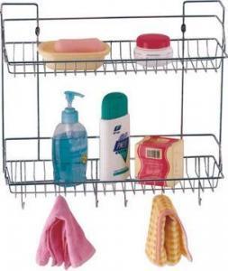 China Bathroom / Kitchen rack 2-tier corner kitchen rack, bathroom rack with hooks on sale