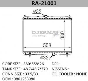 China Radiator Citroen C5 Car Radiator Aluminum Auto Parts RA-21001 on sale