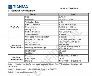 China Standard TFT Modules TIANMA 9.7 inch LCD Screen on sale