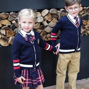 China Cheap price pure color knitted school uniform manufacturers on sale