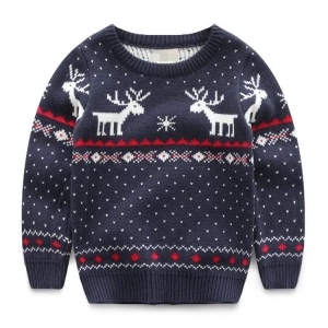China 2017 New arrival kids fashion jacquard sweater deer pattern long sleeve pullover navy boys sweater on sale