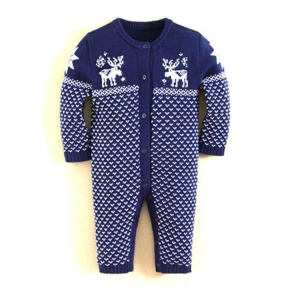 China 0-3 months newborn clothing dot design baby knitted rompers on sale
