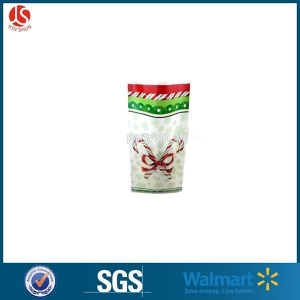 China Christmas Clear Cellophane PP Block Bottom Bag For Candy Packaging on sale