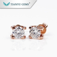 Fashion style D color moissanite earrings,moissanite 14k solid rose gold earrings