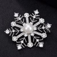 Bling cubic zirconia crystal winter snowflake brooch