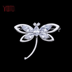 China Bling silver plate AAA cubic zirconia dragonfly diamond brooch on sale