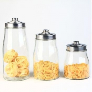 China Ribbed Glass Sweet Jar, Glass Canister with Lid, Glass Storage Jar on sale