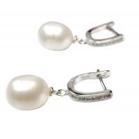 9-10mm Large Drop Pearl 925 Sterling Silver Dangling Diamond Earrings