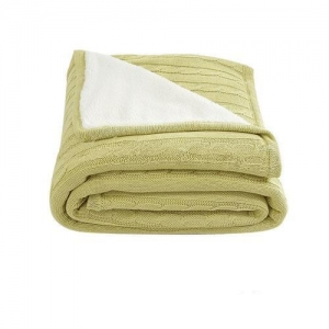 China THROW-BLANKET Cotton Knitted With Reversible Sherpa Blanket/Throw- Yellow on sale