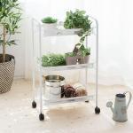 3-Tier Metal Mesh Rolling Cart for Kitchen Bedroom Bathroom Washroom Laundry