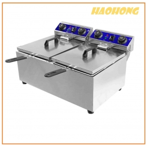 China 17L + 17L Double tank deep fryer on sale