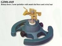 China Rotary brass 2-arm sprinkler with metal sled base and swivel nut. on sale