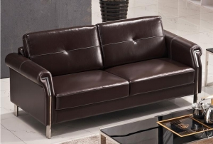 China Brown Leather Office Sofa Set on sale