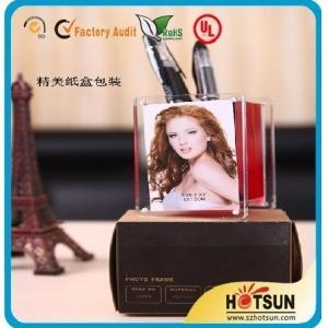 China Simple Design Pen Holder with Photo Frame for Tabletop Stand on sale