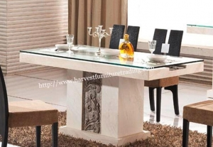China Luxury White Lacquer French Provincial Marble Table and Chairs Set on sale