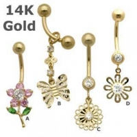 14K Gold Fancy Belly Rings belly-ring-D026
