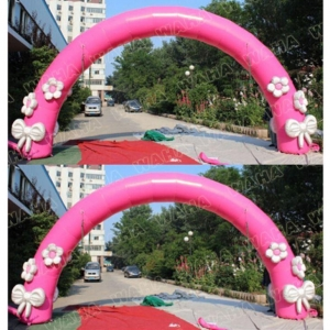 China Pink Color Inflatable Arch With Flowers For Wedding Stage Decoration on sale