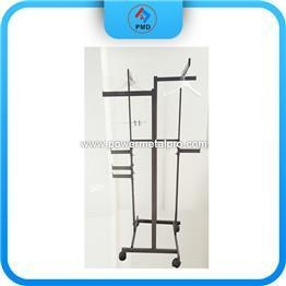 China Metal Display Stand 2-Way Straight Arm Garment Rack With Casters on sale