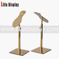 China Lilladisplay- Retail Gold Chrome Metal Shoe Rack Display shoes stand with shoes on sale