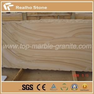 China Yellow Landscape Wooden Sandstone on sale
