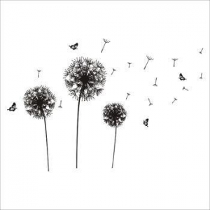 China ZYPA-032-N removable wall sticker with dandelion butterfly pvc wallpaper decoration for home on sale