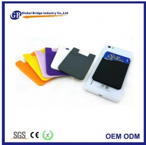 China Silicone Credit Card Phone Case Wallet Sticker With Money Clip on sale