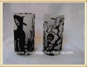 China Glass printing Halloween flocked glass on sale