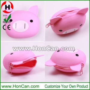 China Pig shape Silicone Coin Bag with Zipper on sale