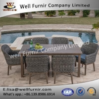 China Well Furnir WF-17122 Wicker 7pc Dining Set With Cushion on sale