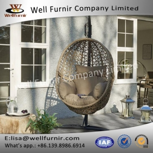 China Well Furnir Proof Powder Coating Long Longvity Relaxing Hanging Rattan Pod Chair With Cushion on sale