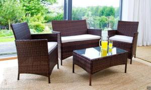 China 100% Hand-woven Luxury Espresso Rattan Outdoor Furniture Wicker Conversational Sofas on sale