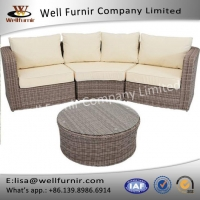 China Rattan Sofas Sets Well Furnir WF-17127 Wicker Rattan 4-Piece Sofa Sectional Set With Cushions on sale