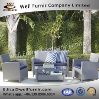 China Rattan Sofas Sets Well Furnir WF-17126 Patio Deep Seating 4 Piece Wicker Conversation Set on sale