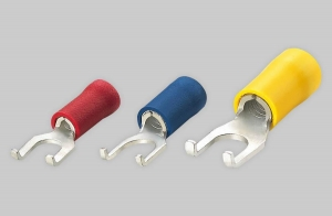 China VINYL-INSULATED (EASY ENTRY) DOUBLE CRIMP FLANGE SPADE TERMINALS on sale