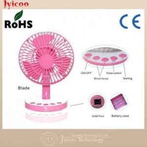 China Hot selling colorful protable voice control rechargeable USB fan on sale