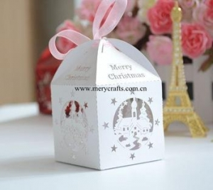 China Good design Christmas favor box laser cut white favor box for Christmas decorations on sale