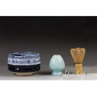 China Sea Wave Glaze Matcha Bowl & Matcha Whisk Chasen & Chasen Holder Set on sale