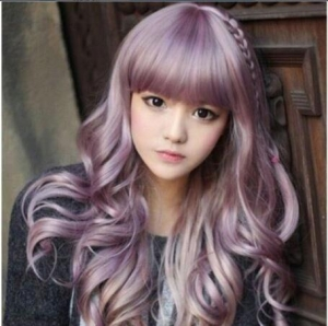 China Japanese Harajuku Zippe Purple Gradient Curly Lolita Cosplay Party Wig on sale