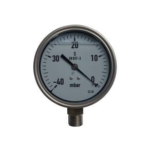 China YE-100A 100mm Full Stainless Steel 40mbar Liquid Filled Capsule Pressure Gauge With Glycerin Oil on sale