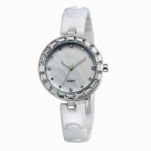 China C005WWhite ceramic bangle watch with swarovski crystal,white ceramic diamond watch on sale