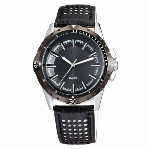 China AMS-L011Leather sport black watch,leather watch band,leather watch strap on sale