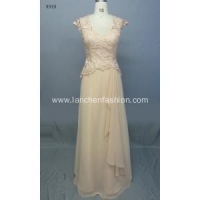 China Cap Sleeve Floral Lace Chiffon Bridesmaid Dresses on sale