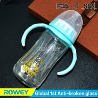 China Anti-broken Glass Blue Baby Bottle | Mini Blue Baby Bottles With Breast-shaped Nipple on sale