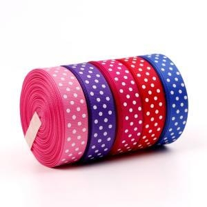 China Personalized Ribbon Dot Printed Grosgrain Ribbon on sale