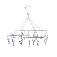 China Folding Stainless Steel Clothes Hanging SockPeg Hanger Airer on sale