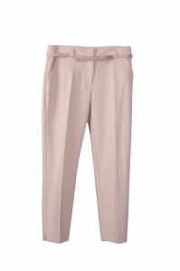 China Ladies' Polyester/rayon Camel Casual Pleated OL Trousers/Pants With Belt on sale