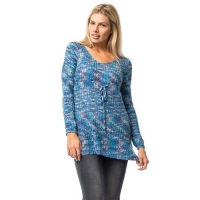 Blue Sequin Embellished Drawstring Tunic Sweater