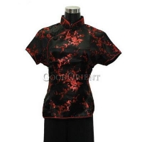 Plum Blossom Chinese Blouse---Black
